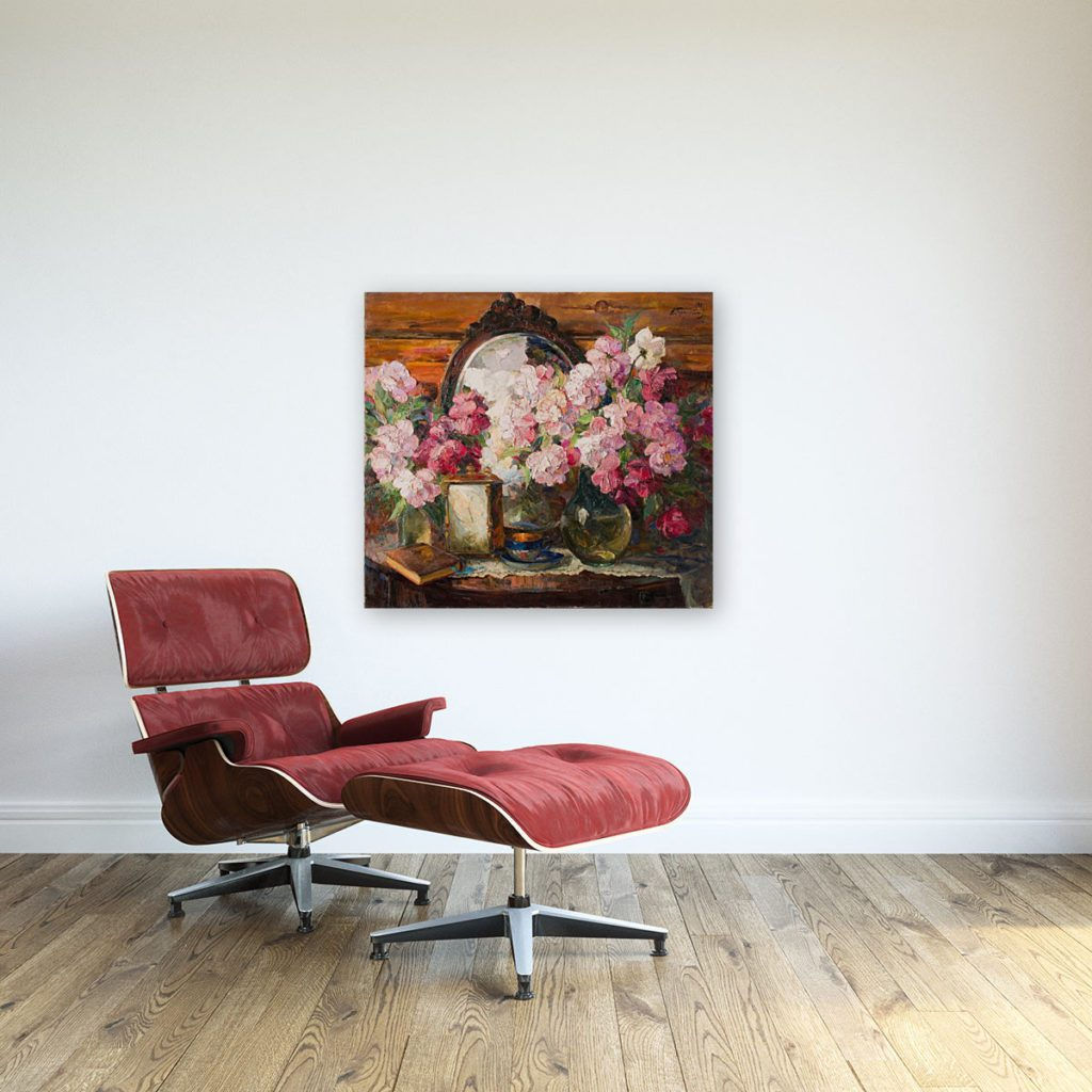 photo of painting of flowers wall art canvas print