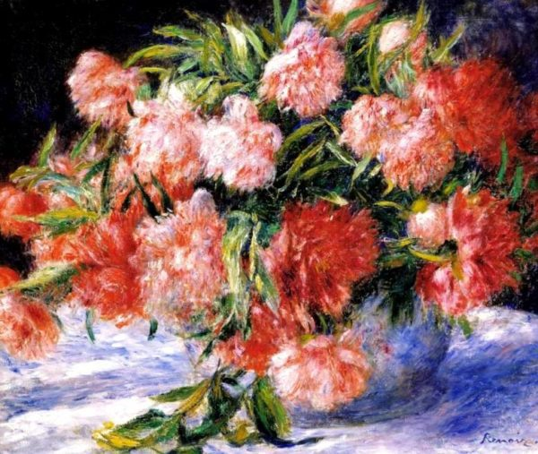 Pierre-Auguste Renoir PAinting Of Peonies Canvas Print Wall Art