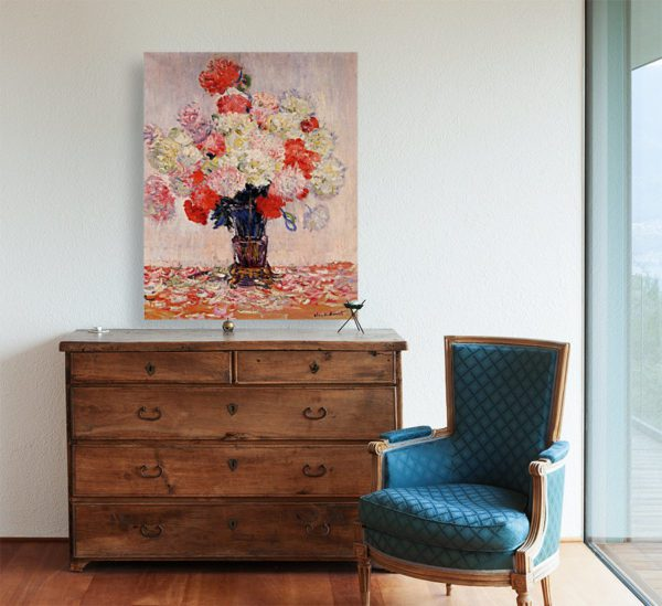 Painting Of Peonies Wall Art Canvas Print by Claude Monet 5