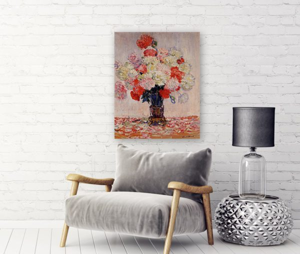 Painting Of Peonies Wall Art Canvas Print by Claude Monet 6
