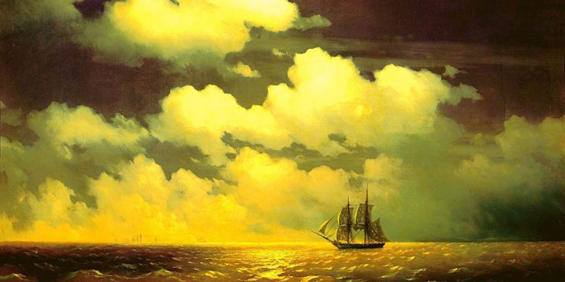 Brig Mercury. Description of a painting by Aivazovsky