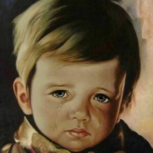 """The Crying Boy"" by Giovanni Bragolin photo of painting"