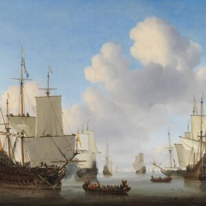Photo of Dutch Ships in a Calm Sea, by Willem van de Velde the Younger