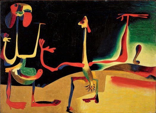 «Man and woman in front of a pile of excrement,» Joan Miro