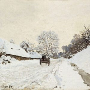photo of A Cart on the Snowy Road at Honfleur canvas print wallart