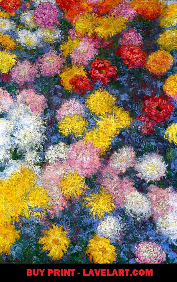 Chrysanthemums by Claude Monet Print On Canvas