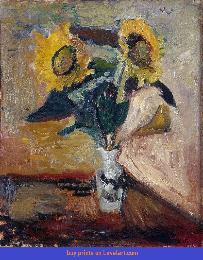 Vase of Sunflowers Print On Canvas Henri Matisse Photo Image